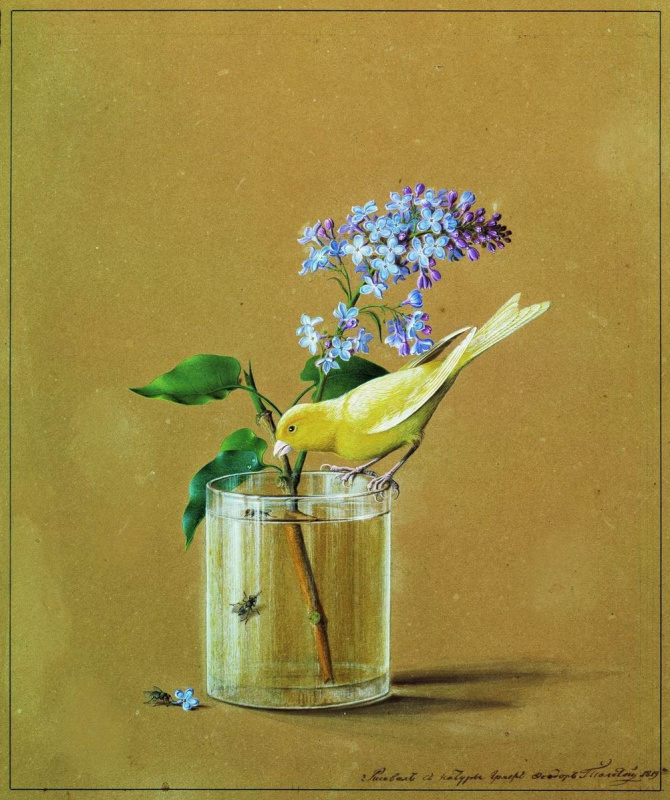 Fedor Petrovich Tolstoy. Branch of lilac and a Canary