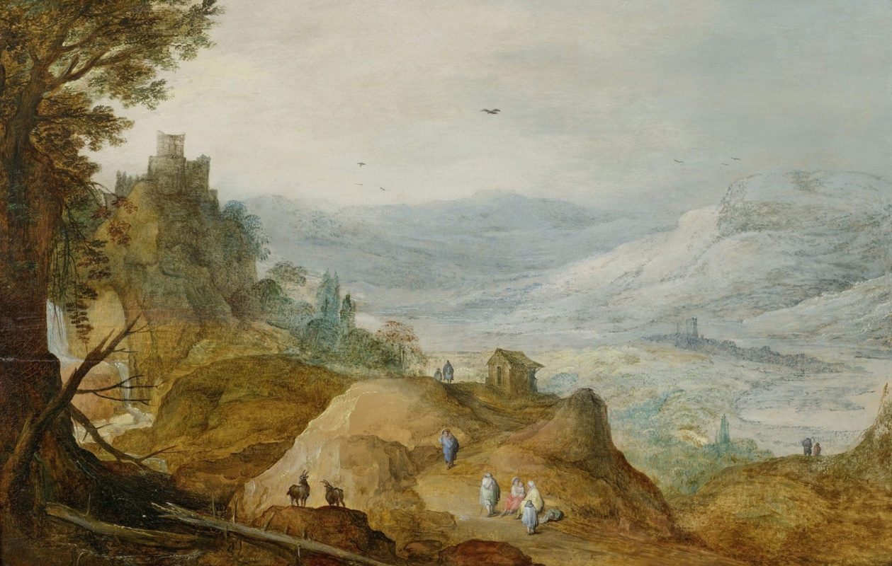 Jan Bruegel The Elder. Mountain landscape with two goats on a rock (in common with Jos de Momperom Jr.) 1600-1610