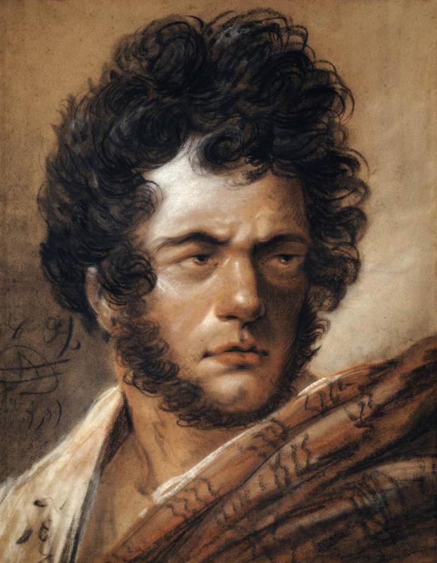 Alexander Osipovich Orel. Self-portrait (self-Portrait in red coat)