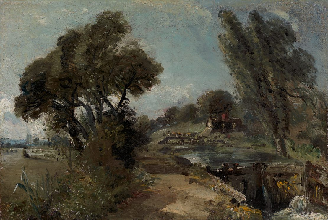 John Constable. Landscape with lake Flatford and cottage on the river Stour