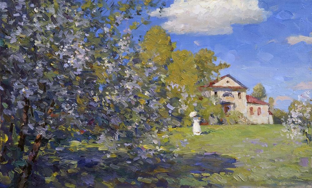 Alexander Victorovich Shevelyov. Spring etude.Kamenka.Oil on canvas 35 # 57,5 cm 2012