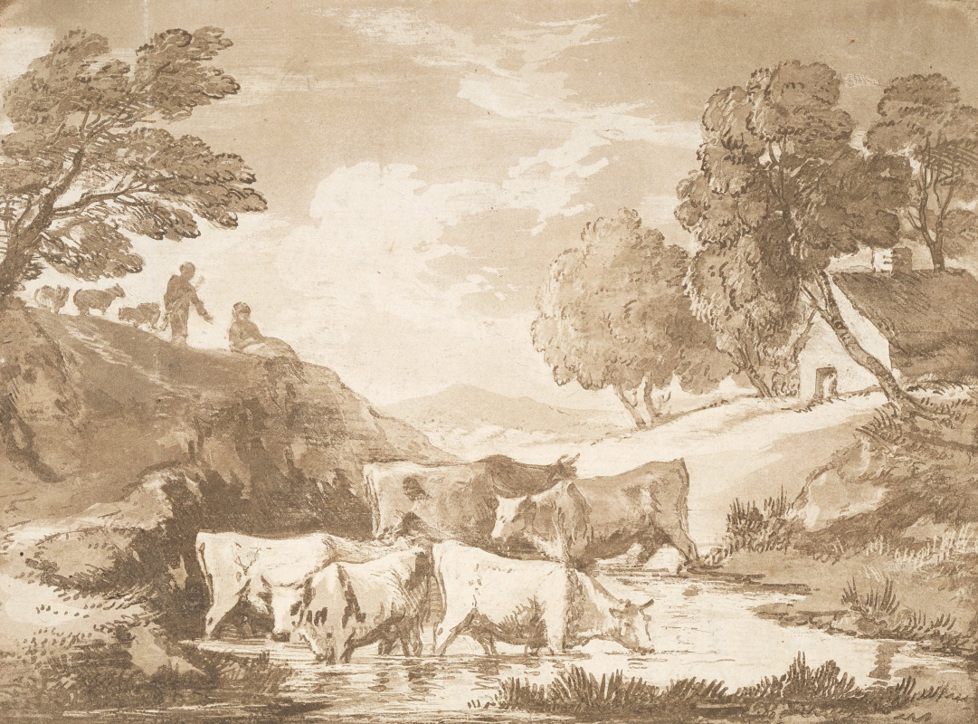 Thomas Gainsborough. A wooded landscape with cows at a watering place and a peasant house