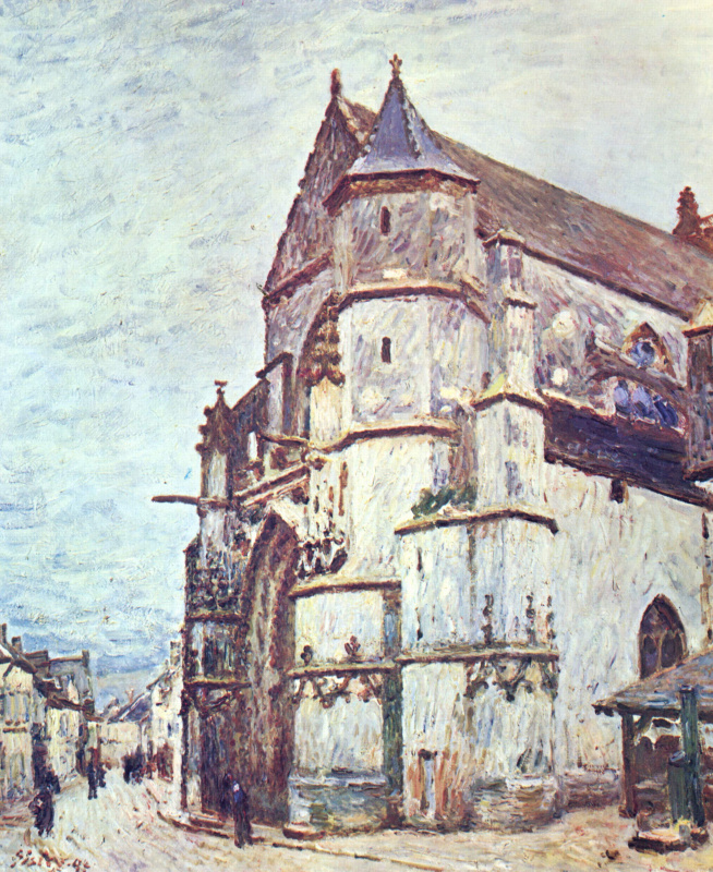 Alfred Sisley. Church in Moret after the rain