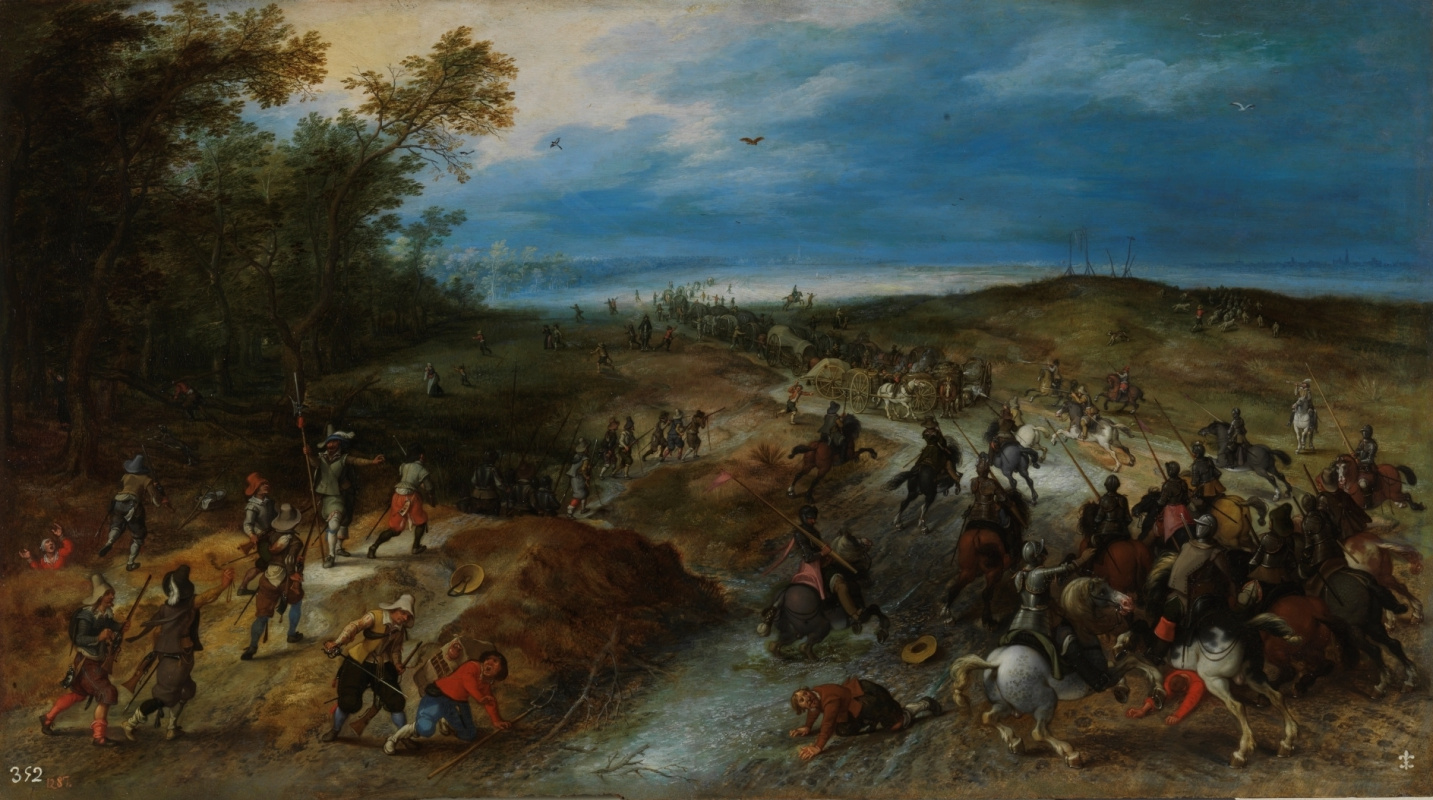 Jan Brueghel the Younger. Attack on convoy