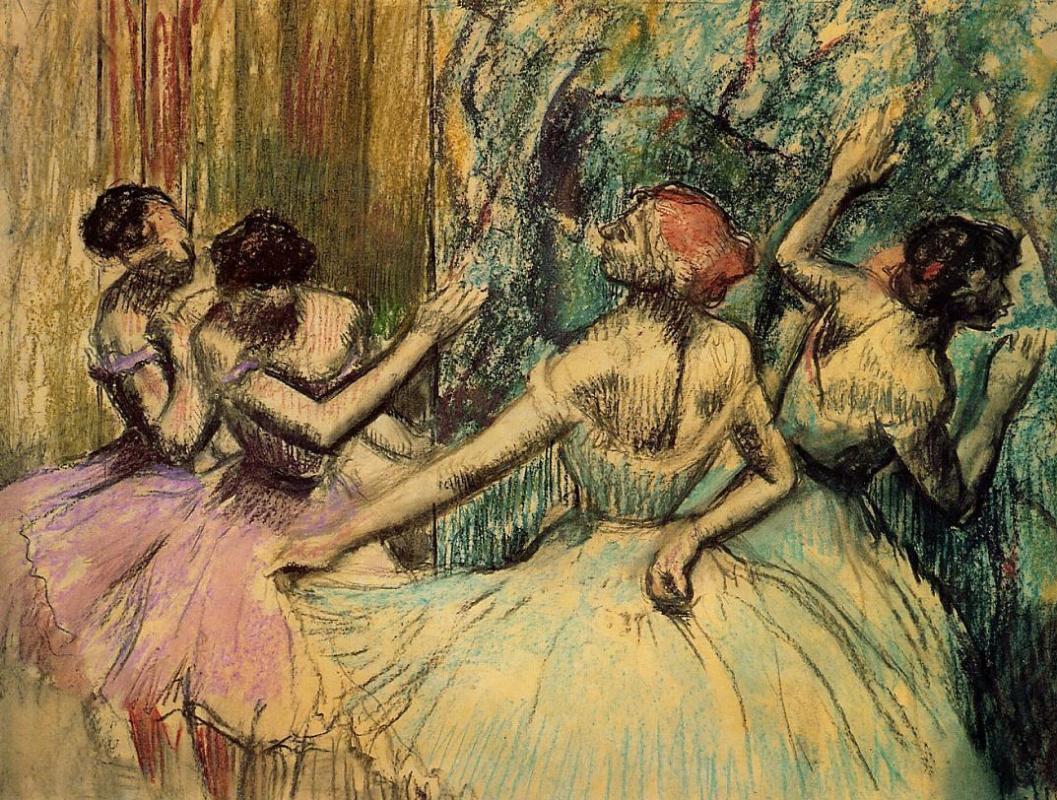 Edgar Degas. Ballerina behind the scenes