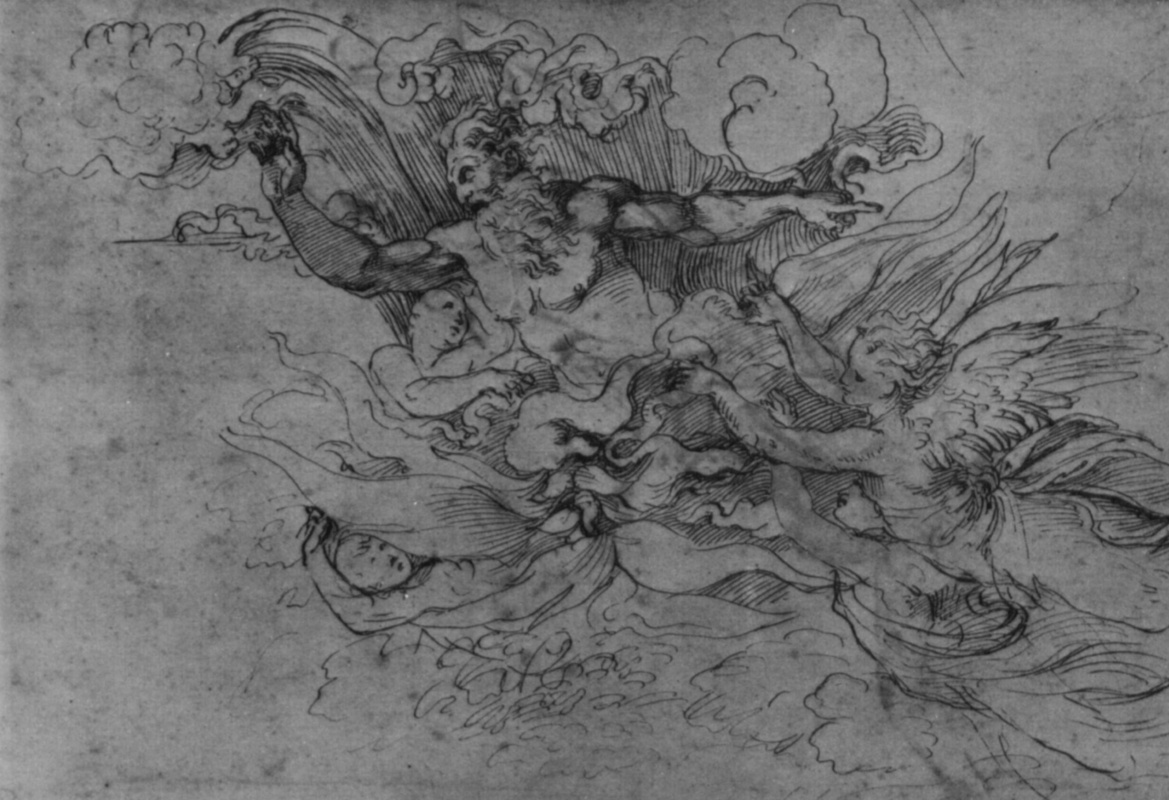 """Raphael Sanzio. God the Father in the fiery rays and angels. Sketch for """"the appearance of God to Moses"""""""