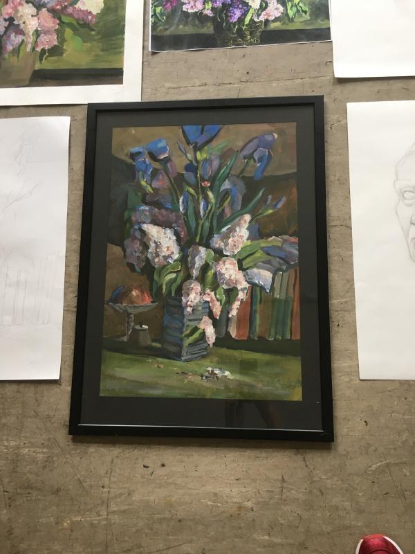 Angelina Igorevna Lyakh. Irises and lilacs
