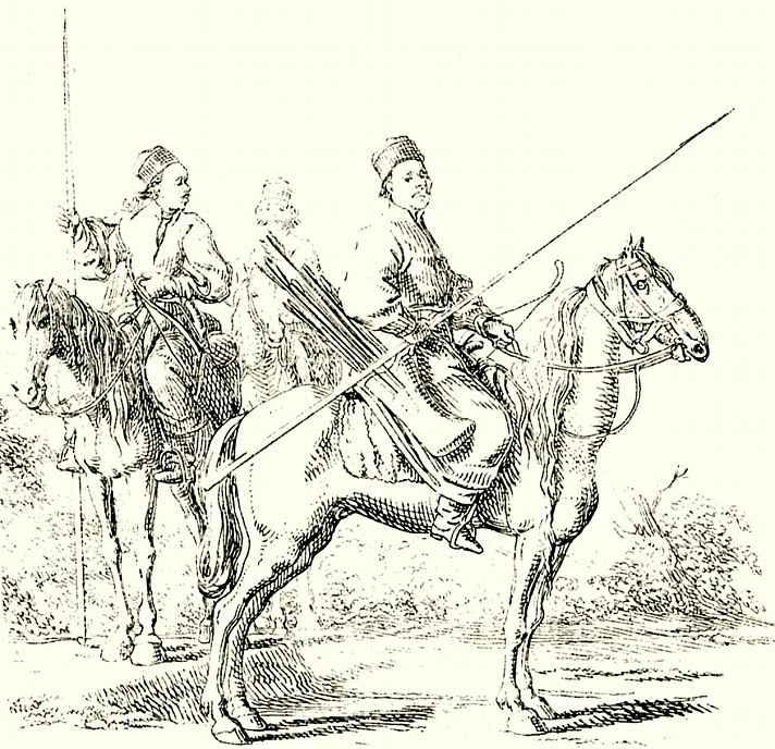 Даниэль  Николай Ходовецкий. Три конных башкира в пейзаже