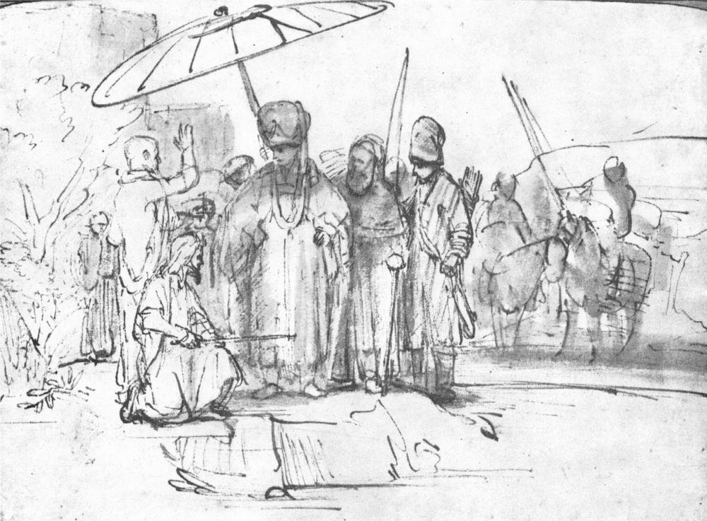 Рембрандт Ван Рейн. Моисей и Аарон перед фараоном