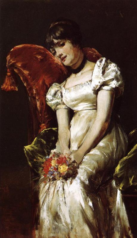 Уильям Меррит Чейз. Молодая девушка с цветами