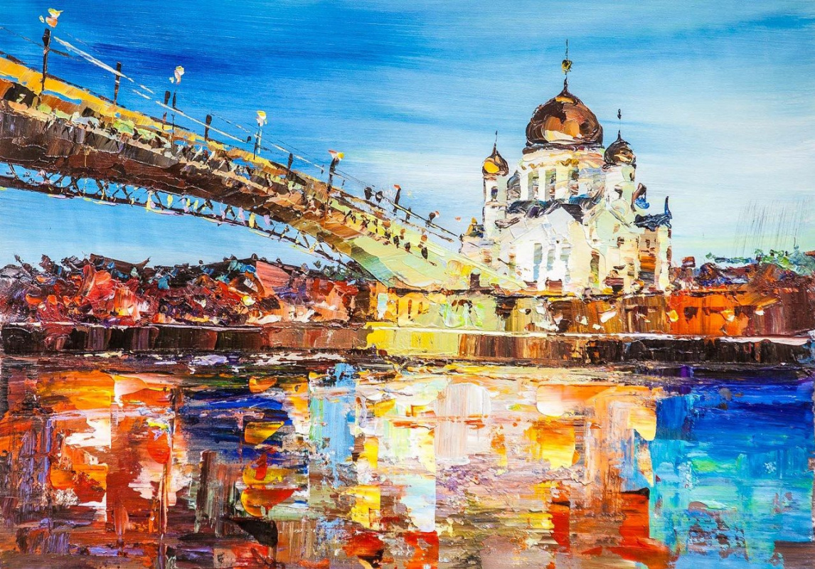 Jose Rodriguez. View of the Cathedral of Christ the Savior and the Patriarch Bridge