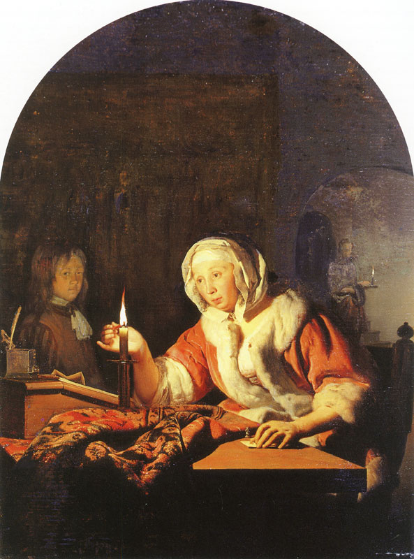 Franz van Miris the Elder. Woman sealing a letter