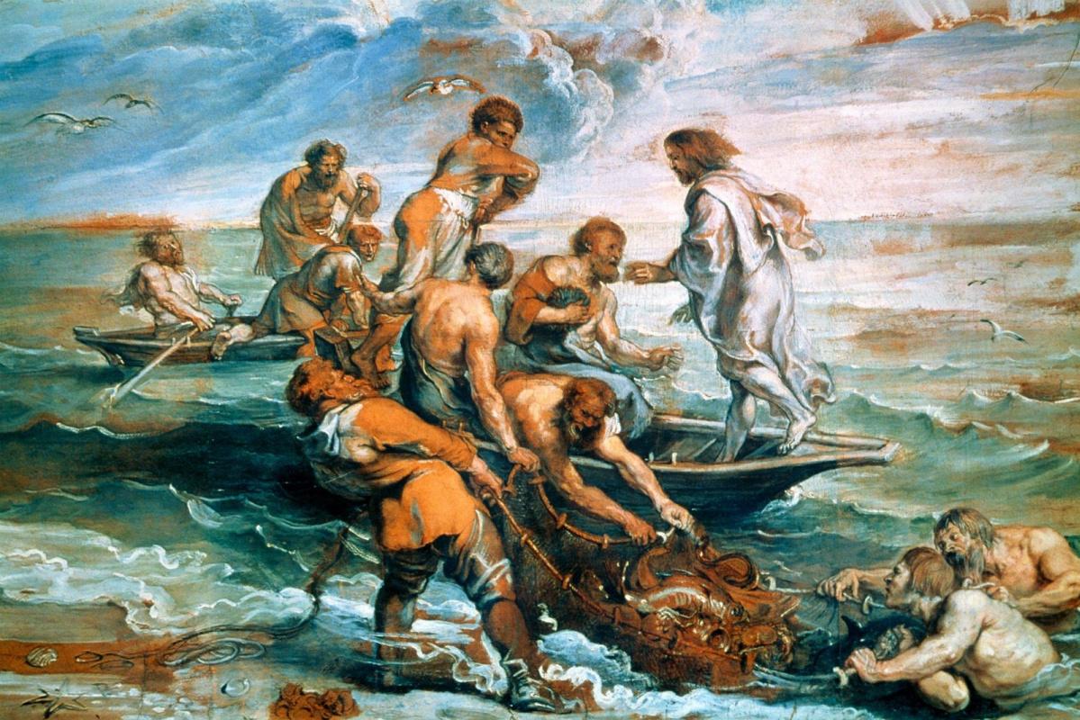 Рафаэль Санти. Чудесный улов рыбы