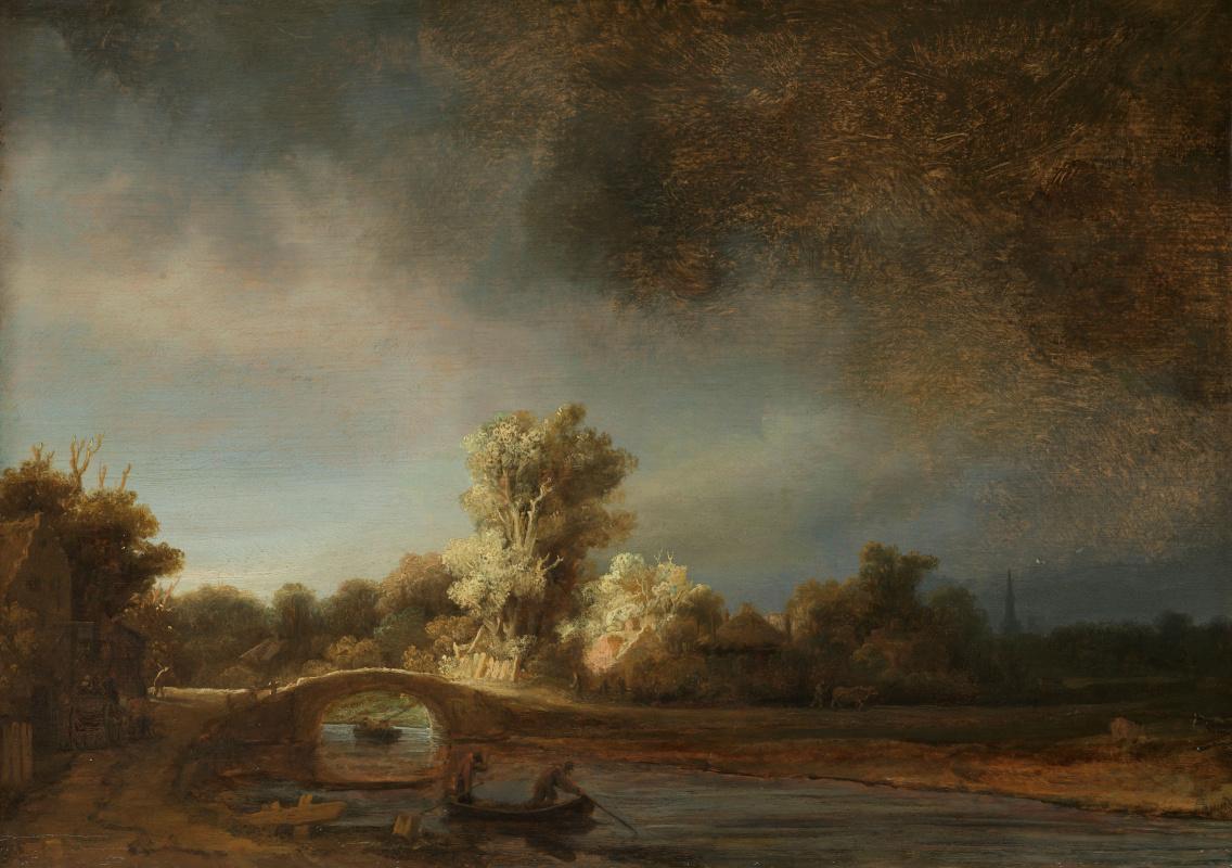Рембрандт Харменс ван Рейн. Пейзаж с каменным мостом