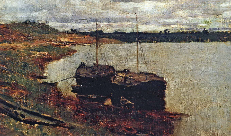 Isaac Levitan. Barges. Volga