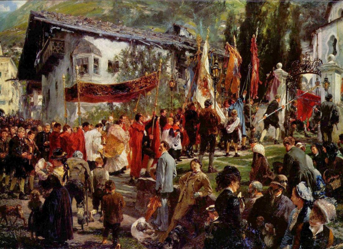 Адольф фон Менцель. Праздник тела Христова в Хофгаштайне