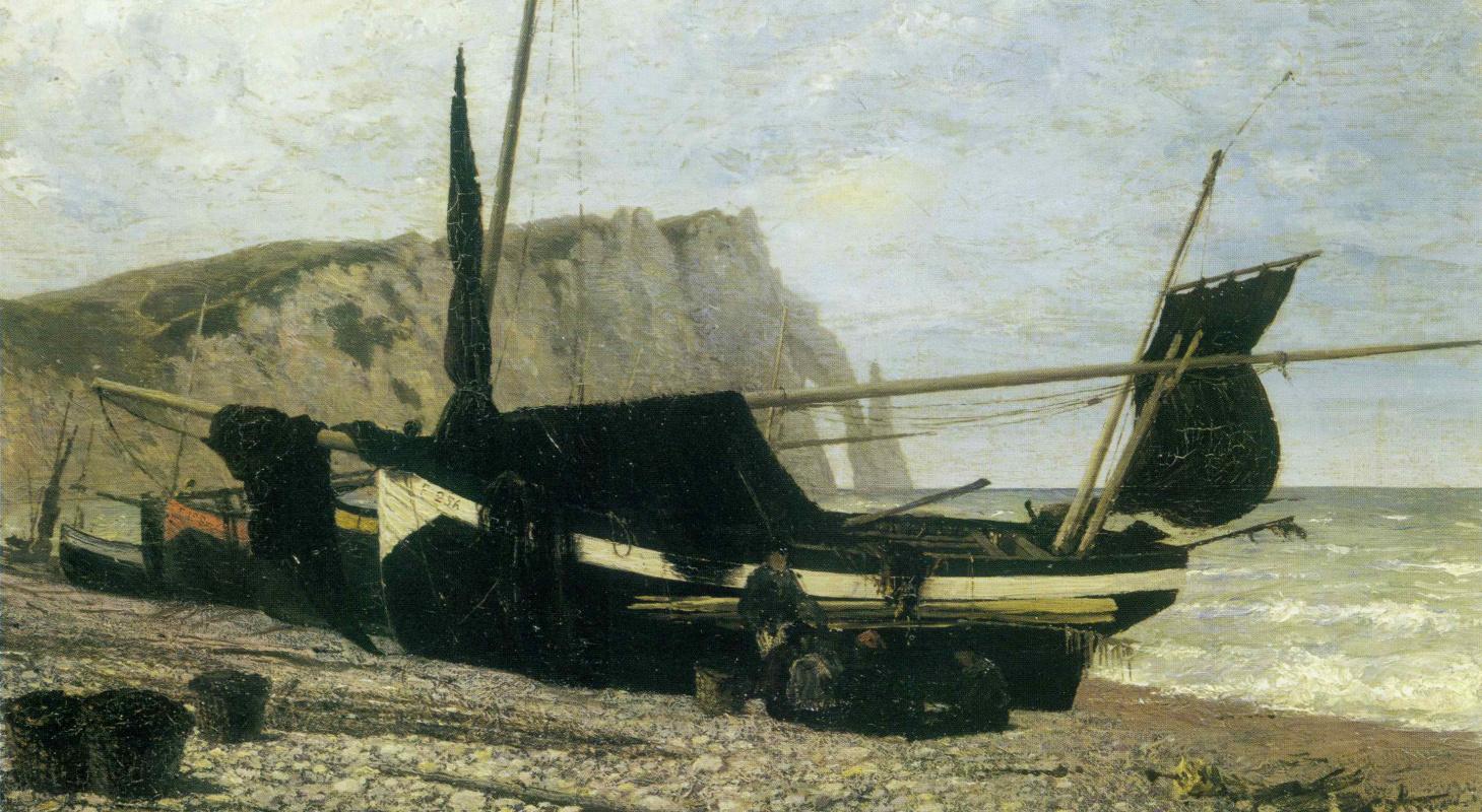 Vasily Polenov. Fishing boat. Étretat. Normandy