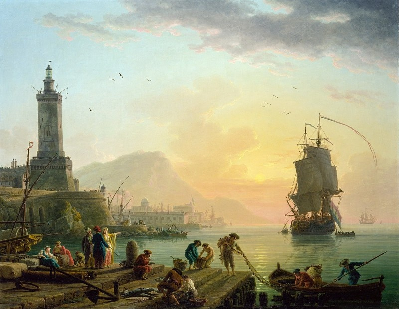 Claude Joseph Vernet. Calm at Mediterranean port