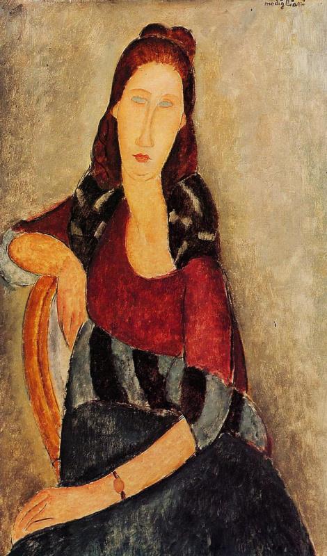 Амедео Модильяни. Портрет сидящей Жанны Эбютерн, опирающейся на спинку стула