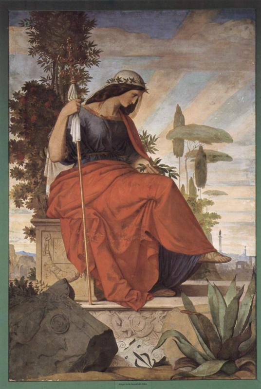 Филипп Вайт. Настенная роспись из старого Штеделевского института, левая часть: Аллегорическая фигура Италии