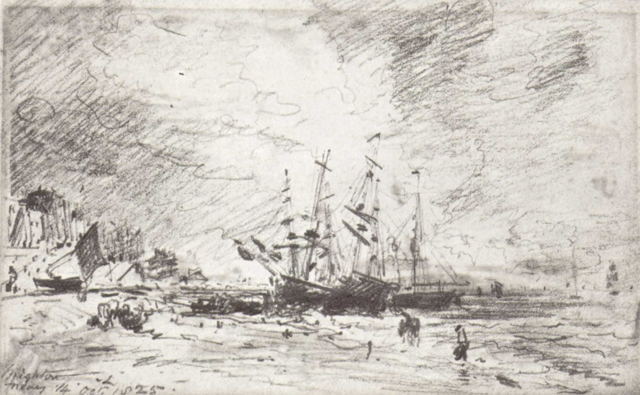 John Constable. The coast in Brighton with ships loaded with coal