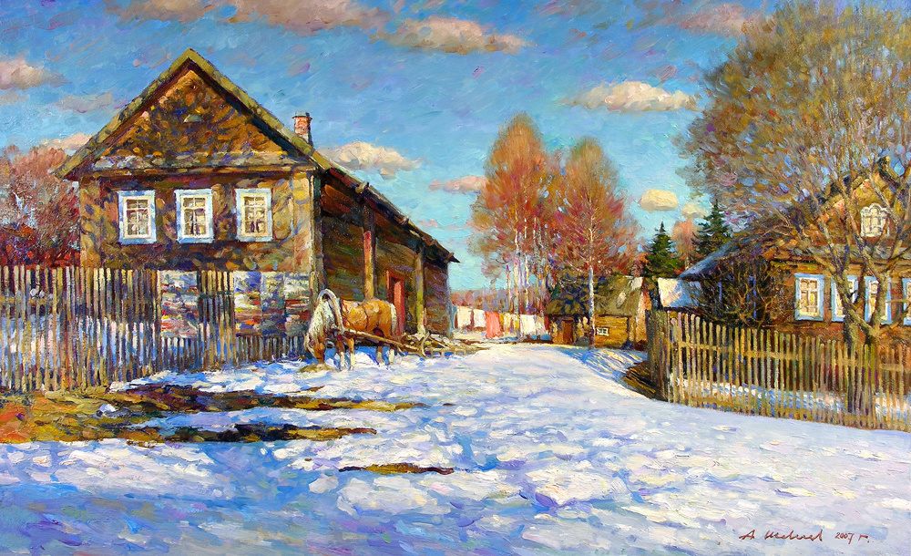 Alexander Victorovich Shevelyov. Spring is in the heater.Oil on canvas 55,5 # 90,5 cm 2008