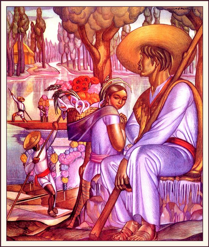 Альфонсо Хавьер Пена. Девушка с корзиной цветов