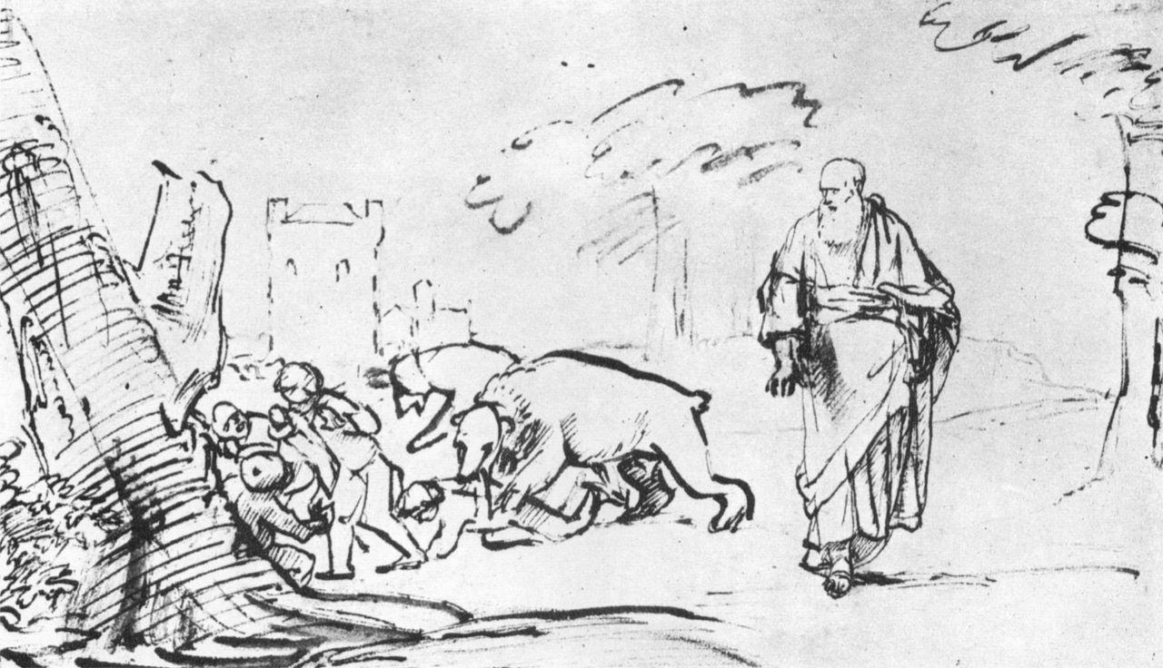 Рембрандт Харменс ван Рейн. Илия напускает на глумящихся мальчишек медведей