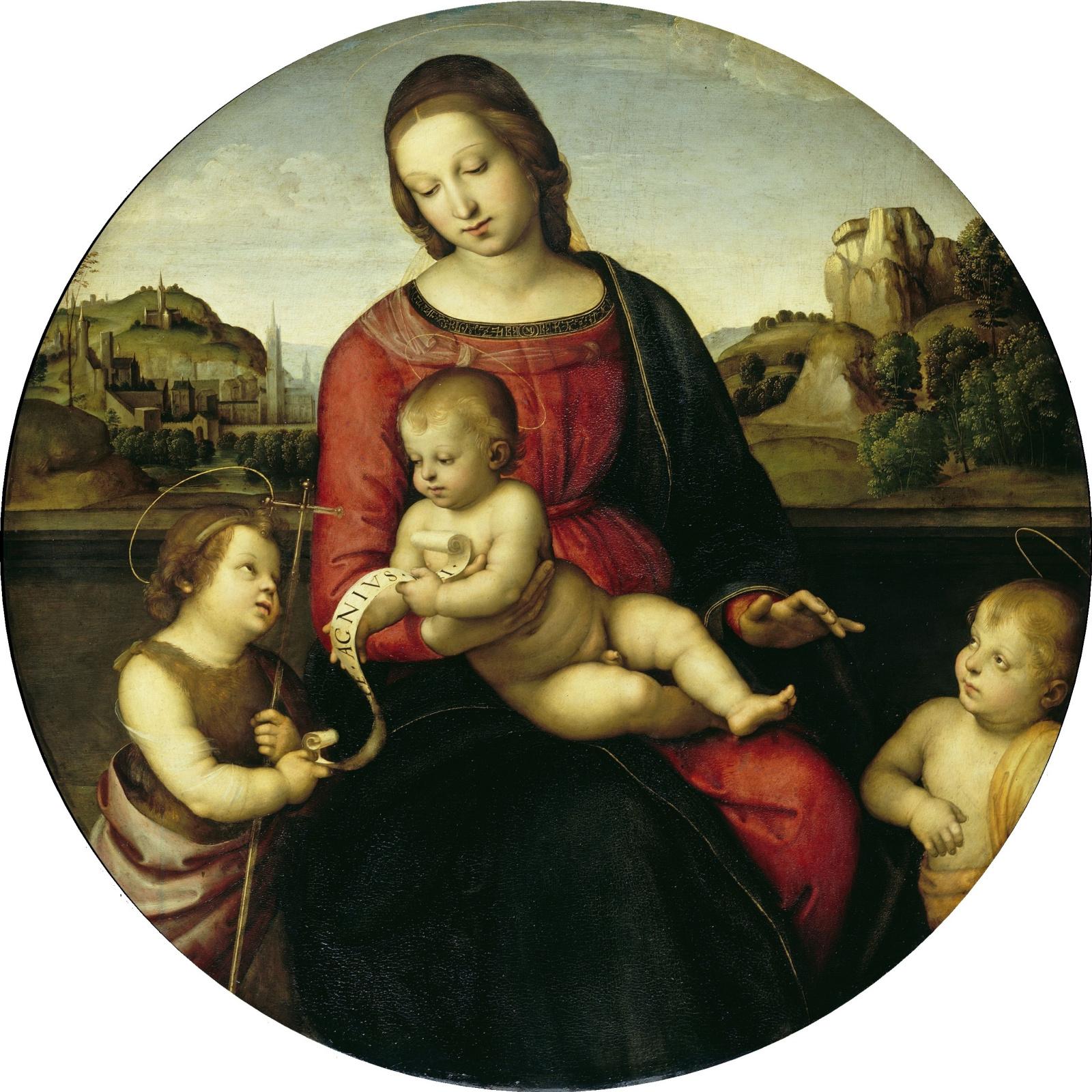 Рафаэль Санти. Мадонна Террануова (Мария с младенцем Христом, Иоанном Крестителем и святым ребенком)