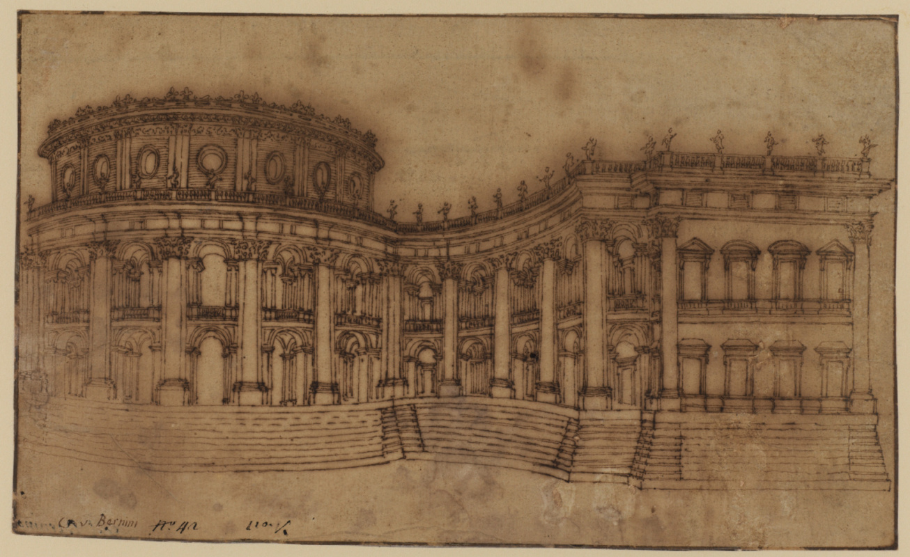 Gian Lorenzo Bernini. Louvre Museum, east facade. Sketch of the first project