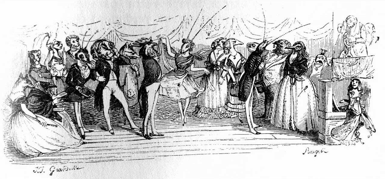 "Jean Inias Isidore (Gerard) Granville. Ball-masquerade. ""Scenes of private and public life of animals"""