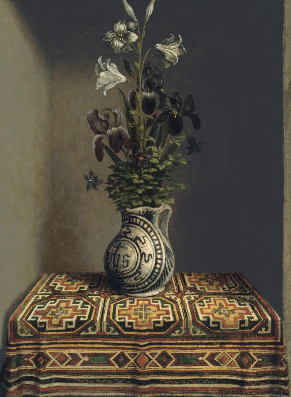 """Hans Memling. Flowers in a vase (the reverse side of the painting """"portrait of a praying young man"""")"""