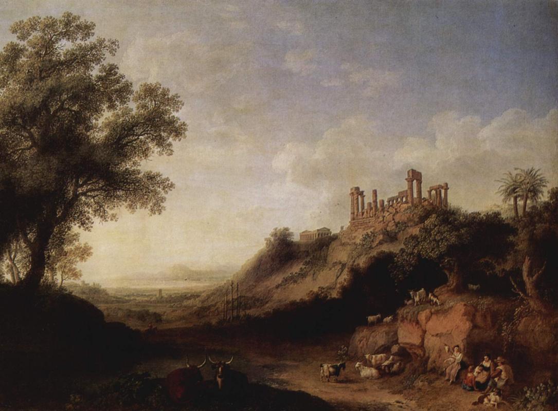 Якоб Филипп Хаккерт. Сицилийский пейзаж с руинами храма