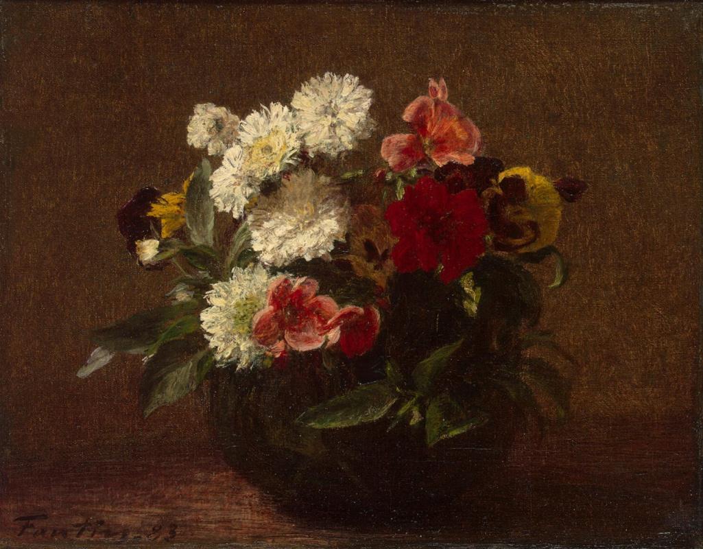 Анри Фантен-Латур. Цветы в глиняной вазе