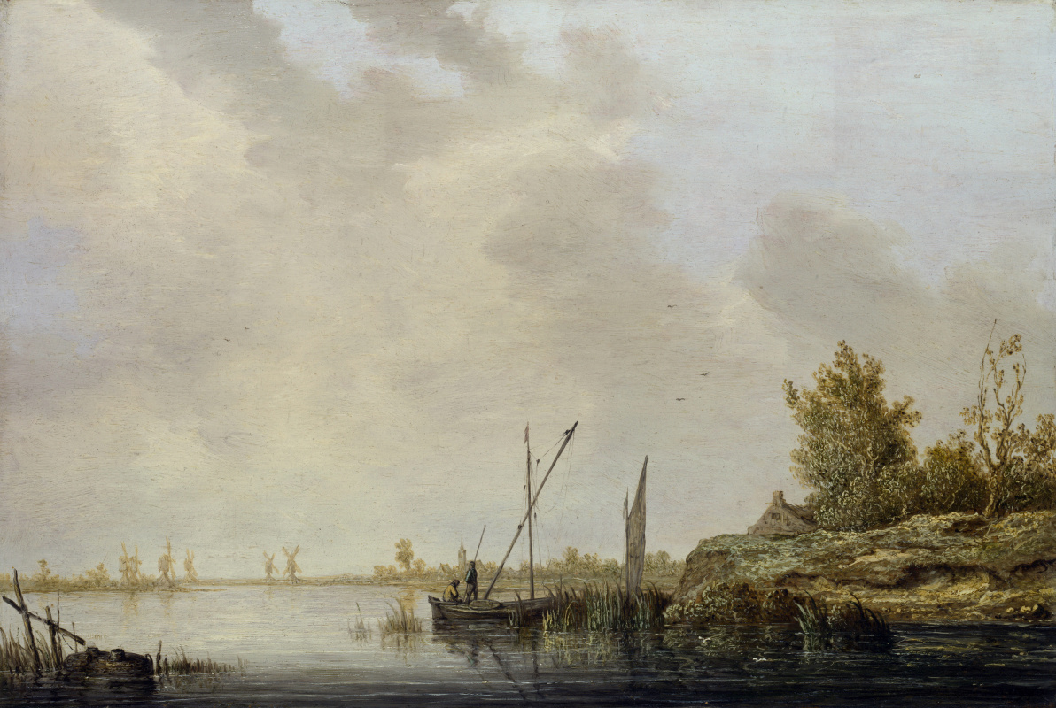 Альберт Кейп. Река с вдаль стоящими мельницами