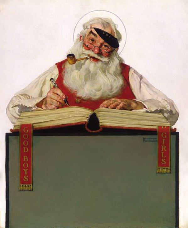 Norman Rockwell. Santa Claus at work