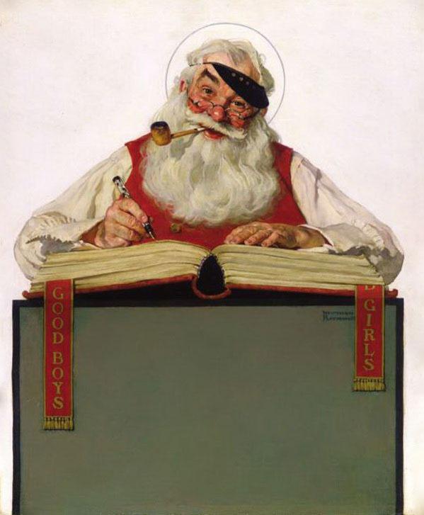 Norman Rockwell. Santa Claus at work