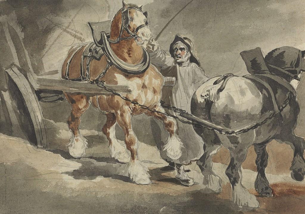 Théodore Géricault. Horses harnessed to coal