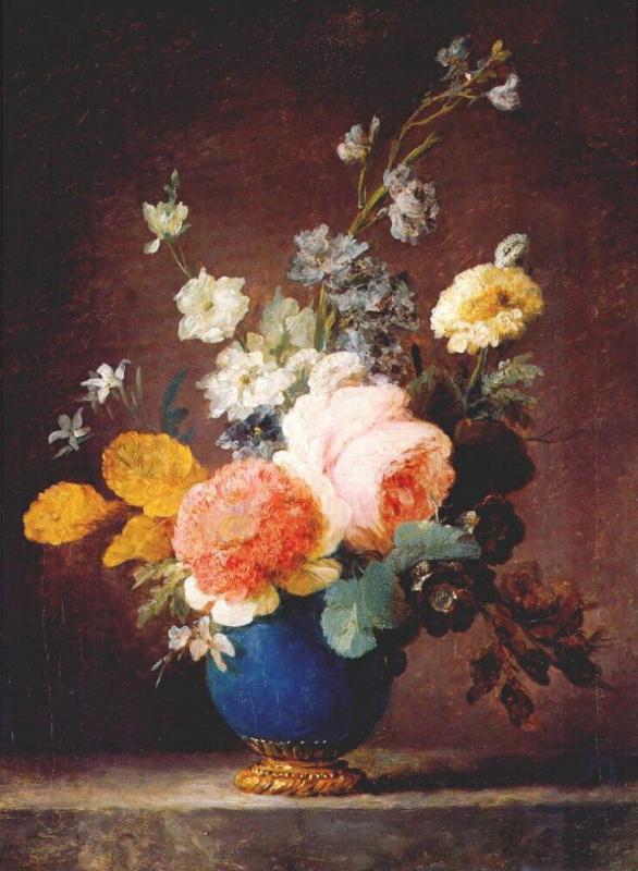 Анна Валайер-Костер. Розы в голубой вазе