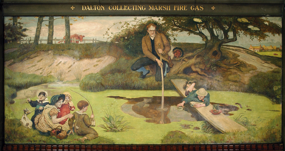Ford Madox Brown. John Dalton collects swamp gas. The mural of the mural of the building of Manchester town hall