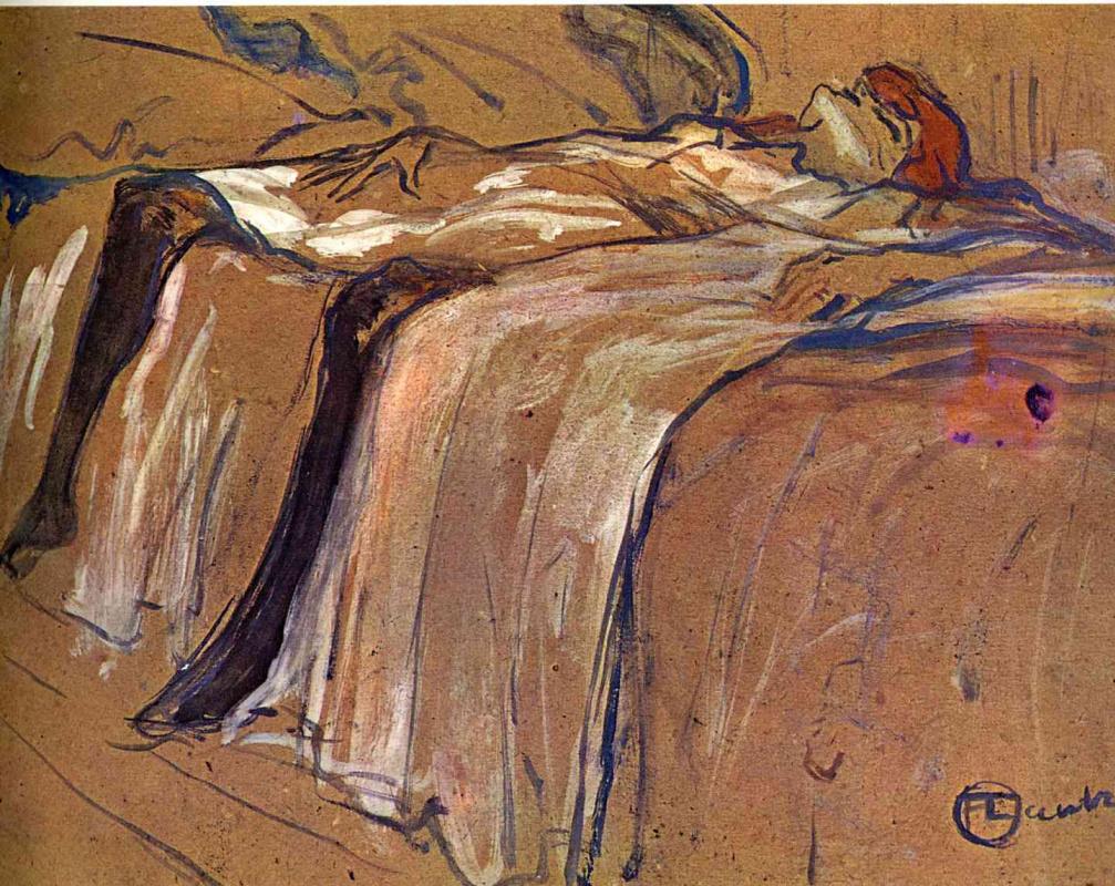 Анри де Тулуз-Лотрек. Женщина, лежащая на спине