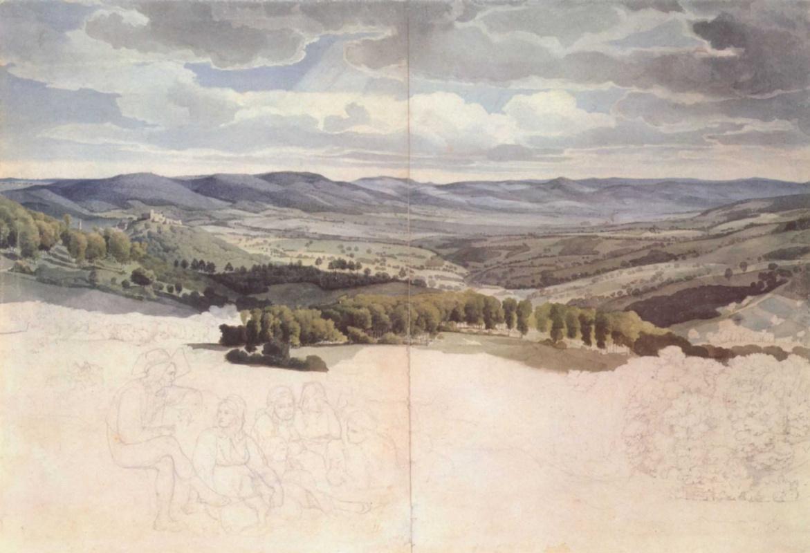 Август Лукас. Панорамный вид горной долины
