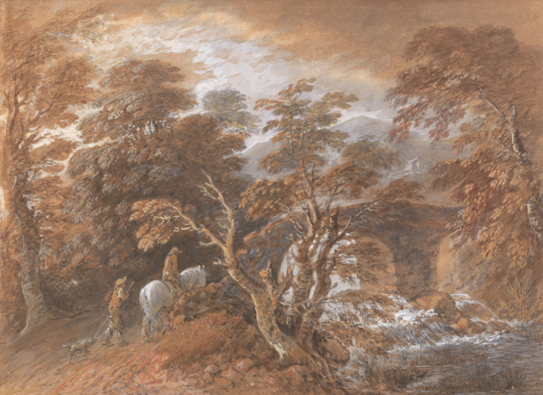 Thomas Gainsborough. Hilly landscape with figures by a bridge