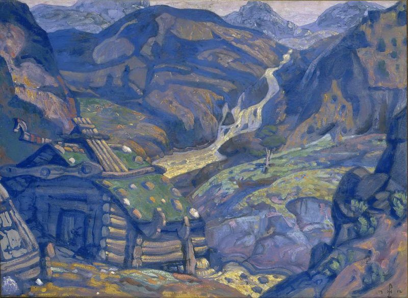 "Nicholas Roerich. Mill in the mountains. Step 1. Sketch for the play ""peer Gynt"" by H. Ibsen"