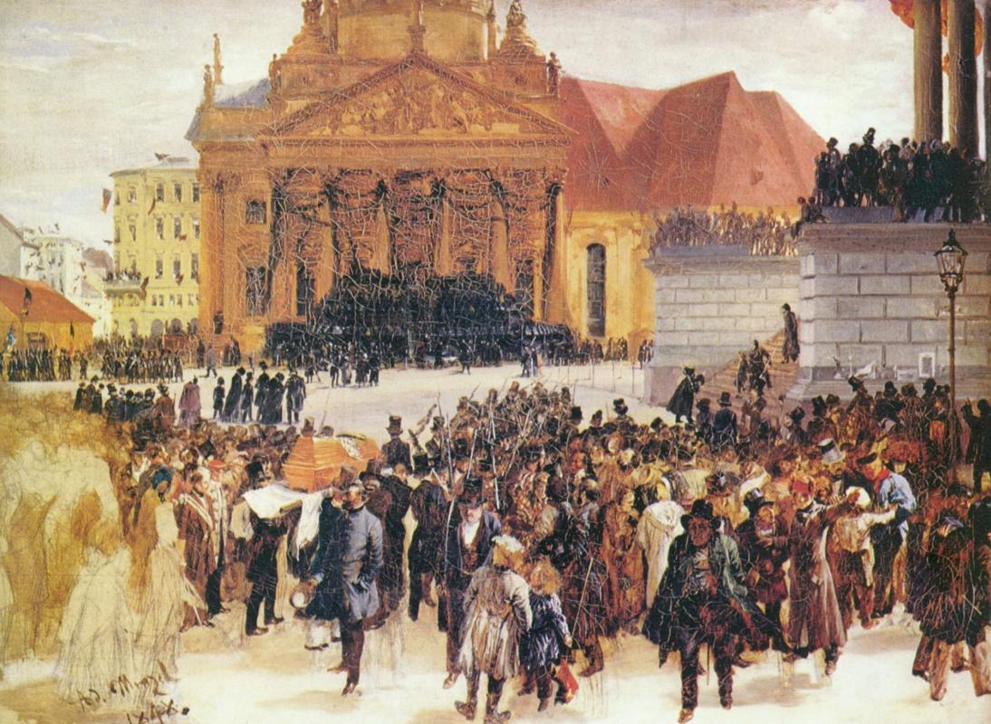 Adolf Friedrich Erdmann von Menzel. The funeral of the fallen during the March uprising
