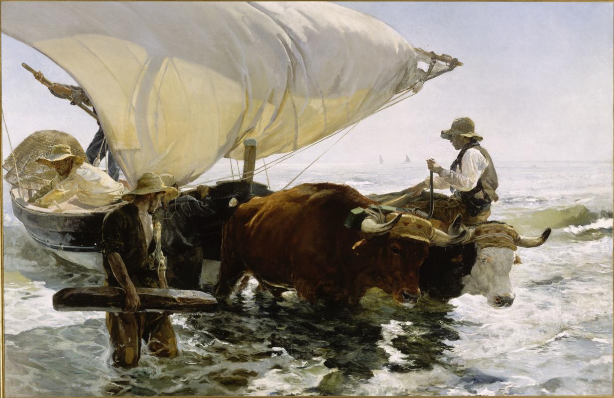 Хоакин Соролья (Соройя). Возвращение с рыбалки. Буксировка лодки