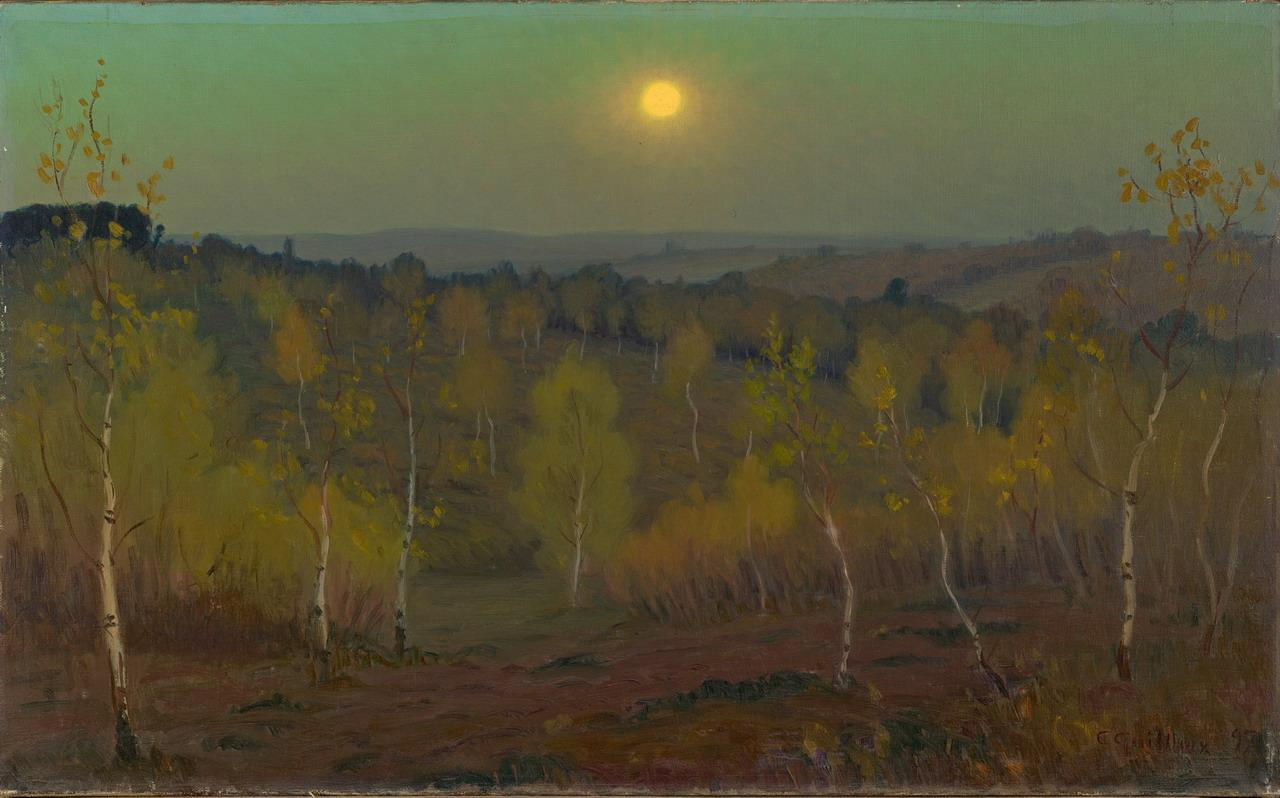Charles Guillaume. Moonlit night in the forest of Monmars