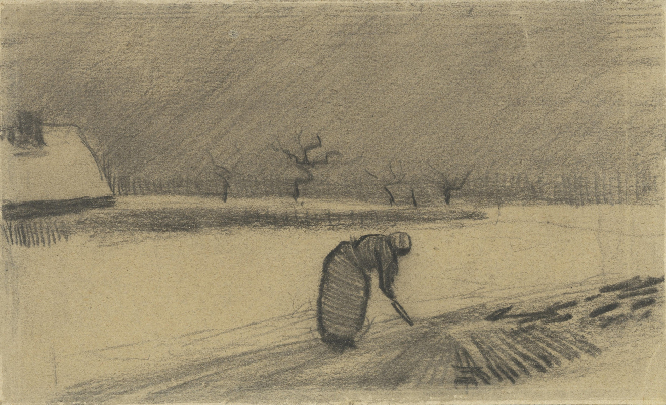 Vincent van Gogh. A woman with a fork in a winter landscape