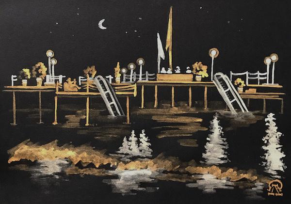 Larissa Lukaneva. Night pier. Sketch.