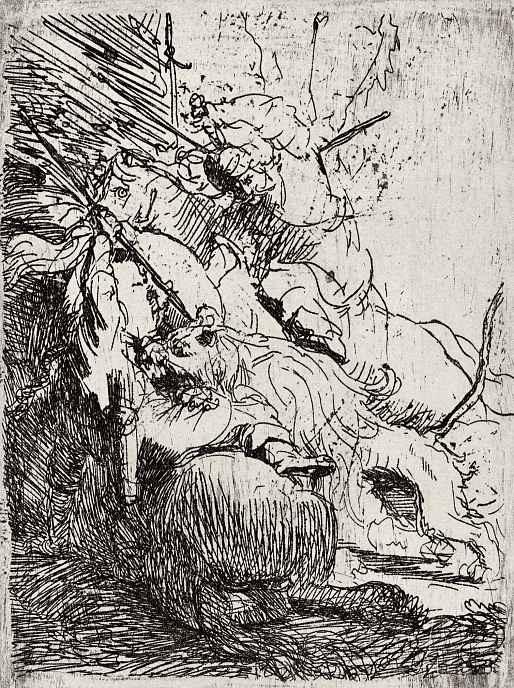 Рембрандт Ван Рейн. Охота на львов с двумя всадниками